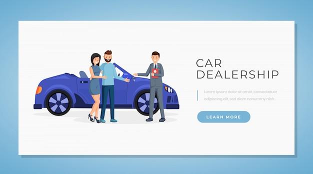 Modèle de vecteur de bannière de concession automobile Vecteur Premium