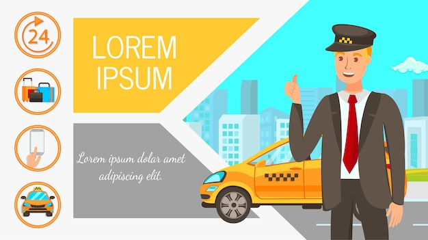 Modèle De Vecteur De Bannière De Publicité Web Plat Taxi Vecteur Premium