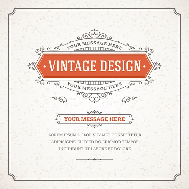 Modèle de vecteur de carte de voeux ornement vintage. Vecteur Premium
