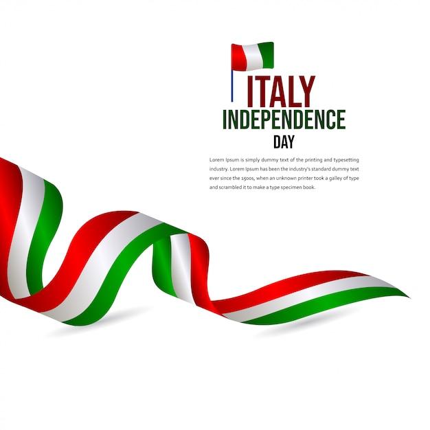 Modèle de vecteur de célébration du jour de l'indépendance de l'italie heureux Vecteur Premium