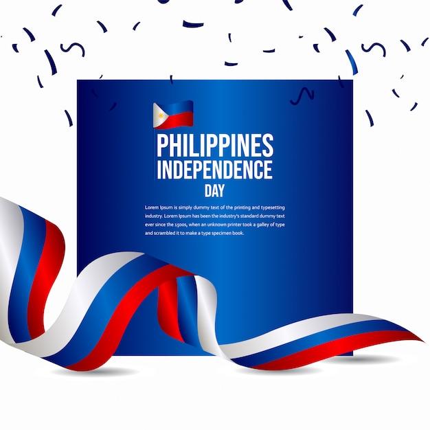 Modèle de vecteur de célébration de joyeux anniversaire de l'indépendance des philippines Vecteur Premium