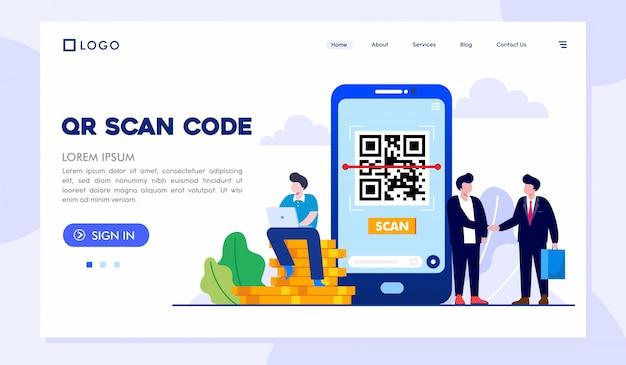 Modèle De Vecteur De Code Qr Scan Landing Page Website Illustration Vecteur Premium