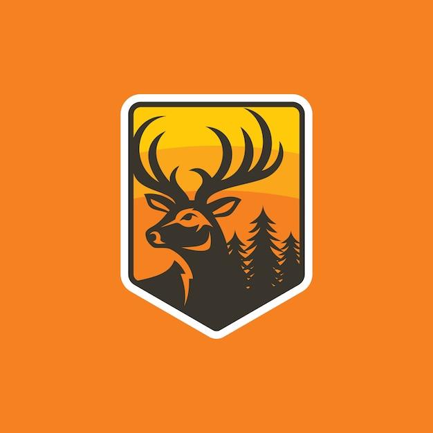 Modèle de vecteur de conception logo coloré cerf Vecteur Premium