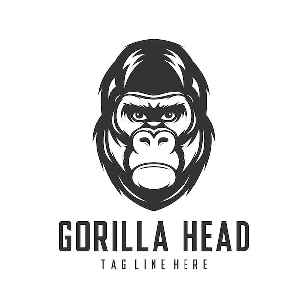 Modèle de vecteur de conception logo tête de gorille Vecteur Premium