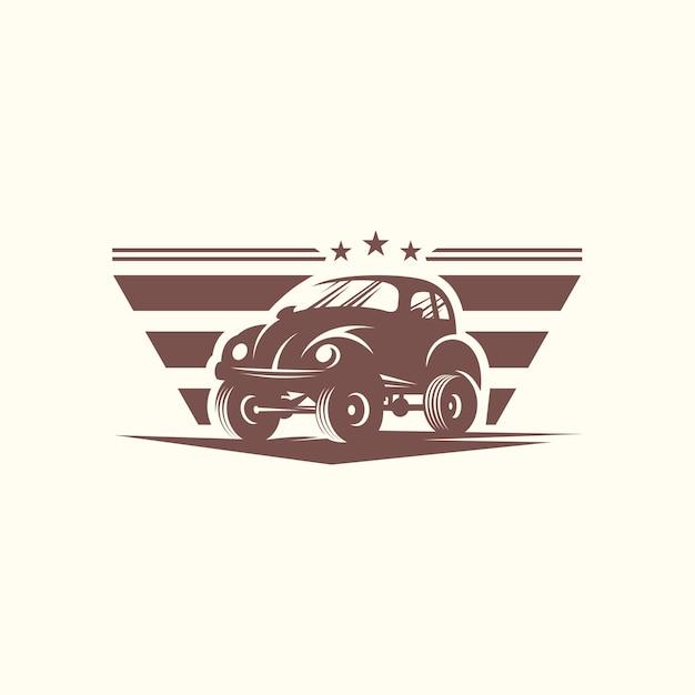 Modèle de vecteur de conception de voiture classique logo Vecteur Premium