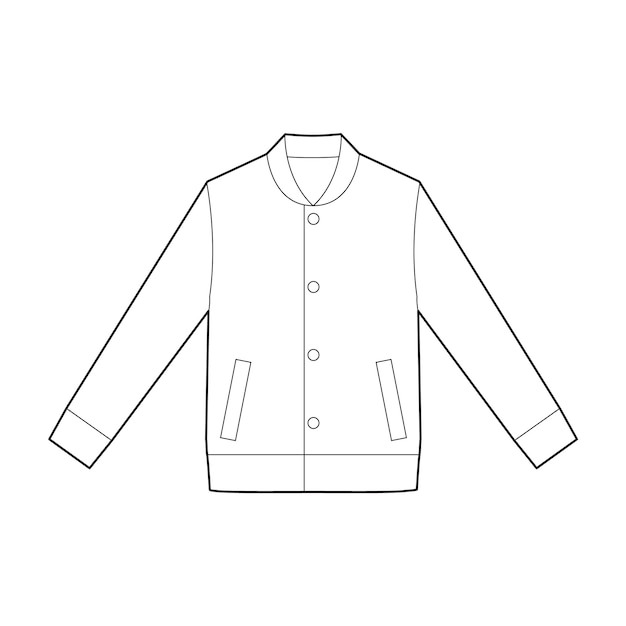 Modèle de vecteur de dessin technique plat jaket outer fashion Vecteur Premium