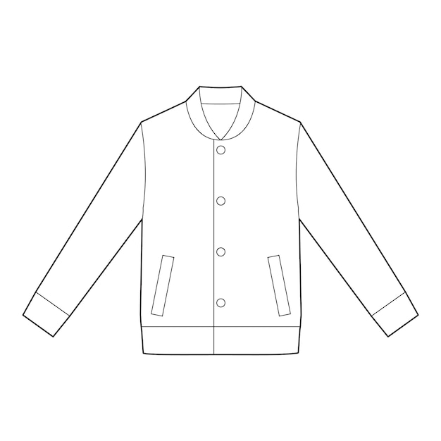 Modèle de vecteur de dessin technique plat jaket outer fashion Vecteur Premium