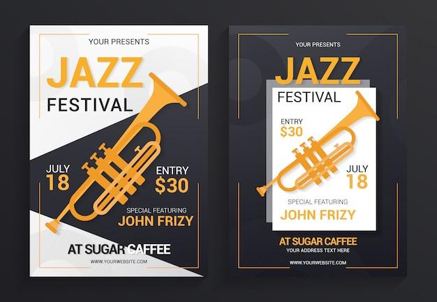 Modèle de vecteur flyer festival de jazz Vecteur Premium