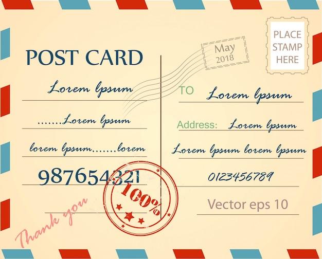 Modèle de vecteur de fond vintage carte postale Vecteur Premium