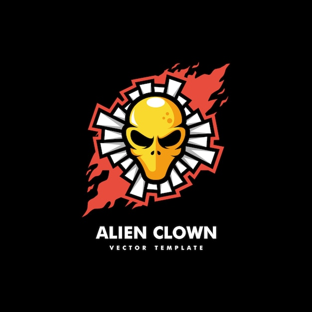 Modèle de vecteur illustration alien clown concept Vecteur Premium
