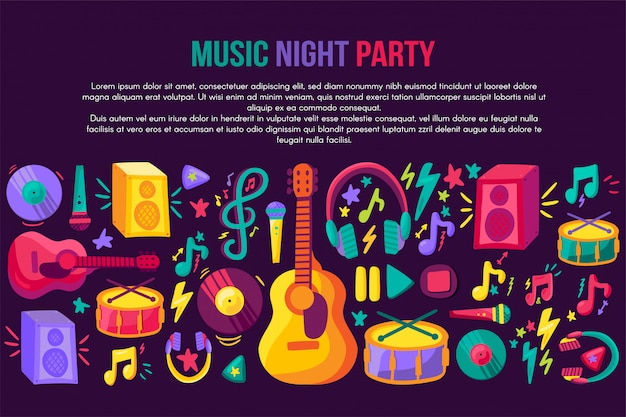 Modèle de vecteur invitation festival musical Vecteur Premium