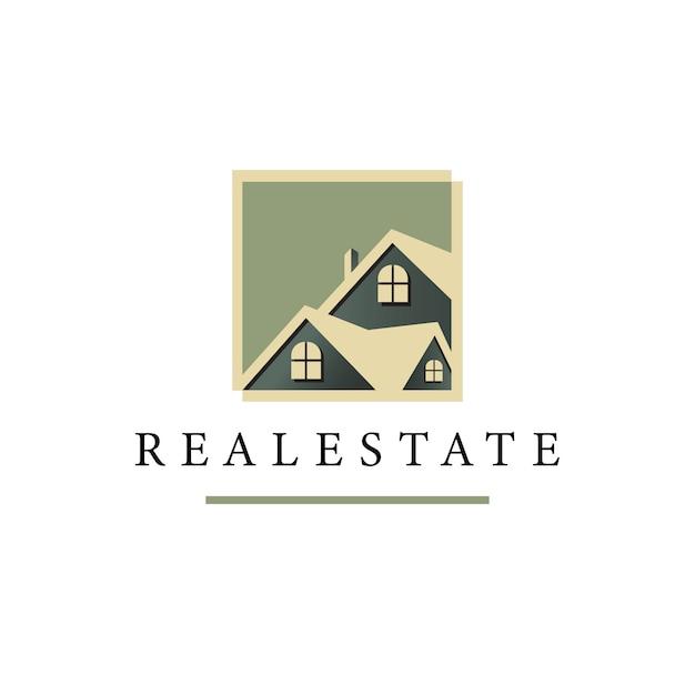 Modèle de vecteur logo immobilier géométrique Vecteur Premium