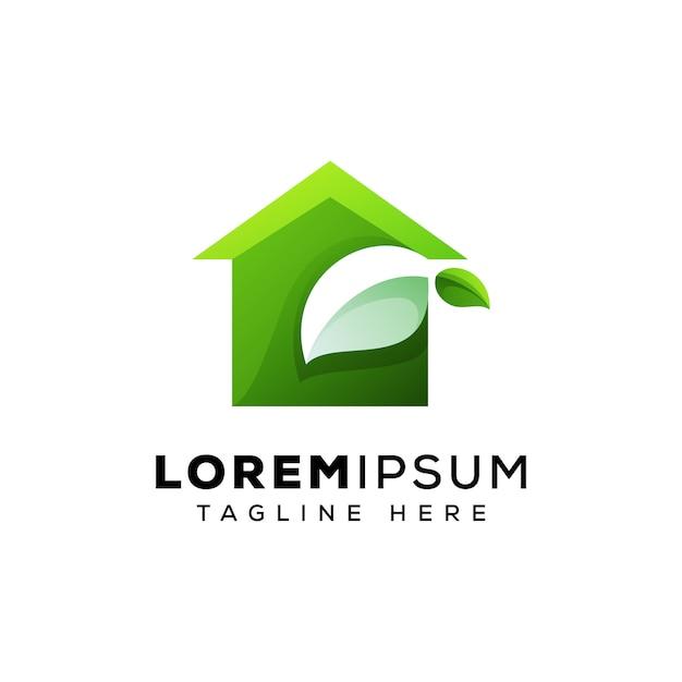 Modèle De Vecteur De Logo Maison Verte Concept Vecteur Premium