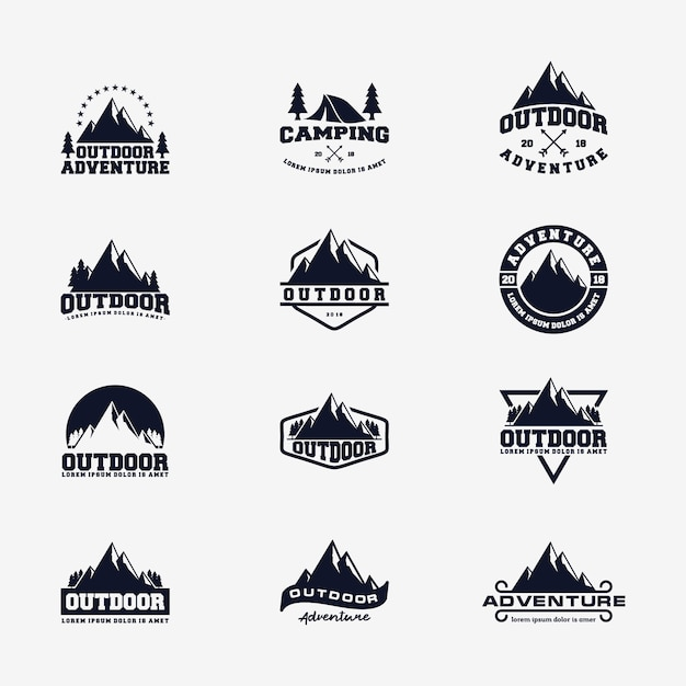 Modèle de vecteur de logo de montagne aventure en plein air Vecteur Premium