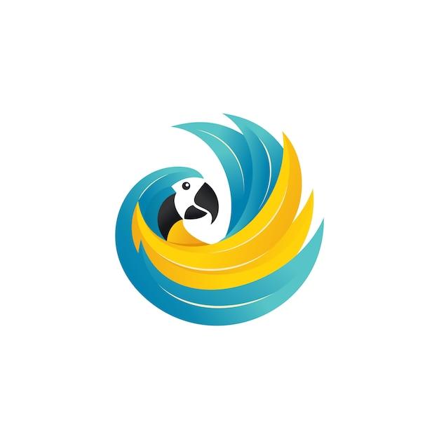 Modèle de vecteur de logo de perroquet Vecteur Premium