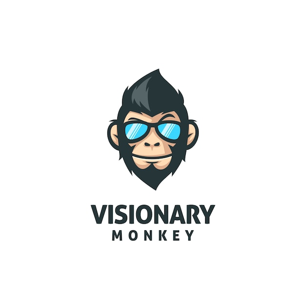Modèle de vecteur de mascotte singe Vecteur Premium