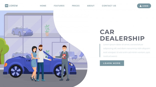 Modèle de vecteur de page de destination de concession automobile Vecteur Premium