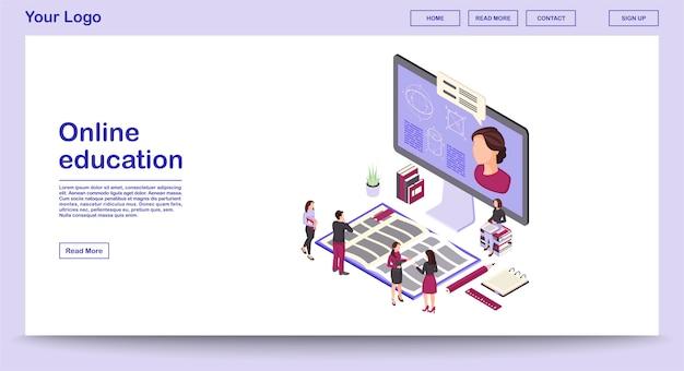 Modèle De Vecteur De Page Web D'éducation En Ligne Avec Page De Destination D'illustration Isométrique Vecteur Premium