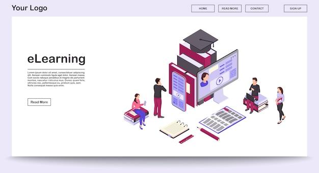 Modèle De Vecteur De Page Web Elearning Avec Illustration Isométrique, Page De Destination Vecteur Premium