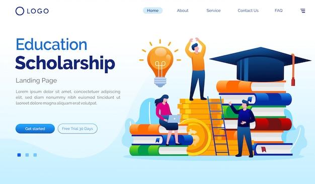Modèle De Vecteur Plat Illustration De La Page De Destination De La Bourse D'études Vecteur Premium