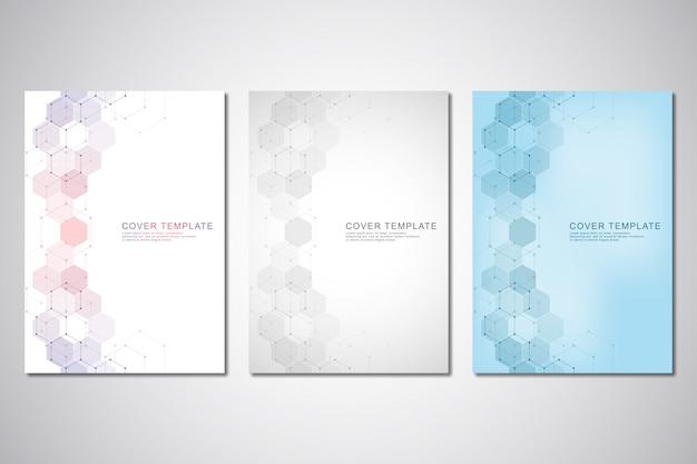 Modèle De Vecteur Pour La Couverture Ou Une Brochure, Avec Motif Hexagones Et Antécédents Médicaux Vecteur Premium