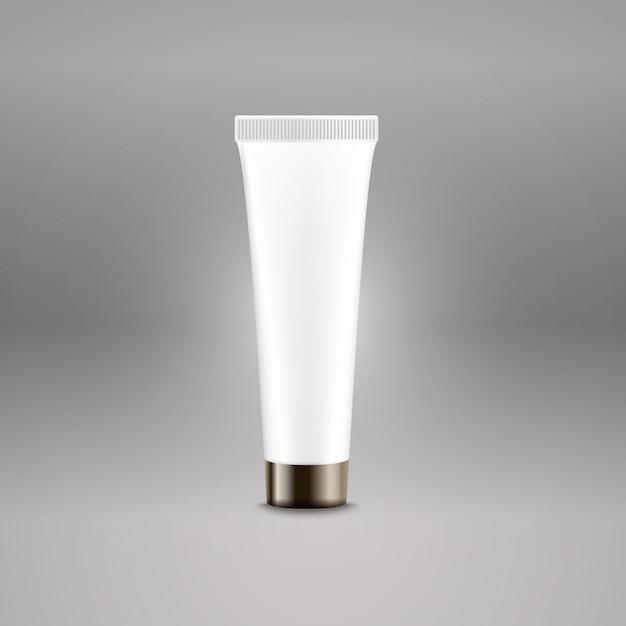 Modèle de vecteur de publicité de tube en plastique. modèle de bouteille de crème pour le logo de la marque Vecteur Premium
