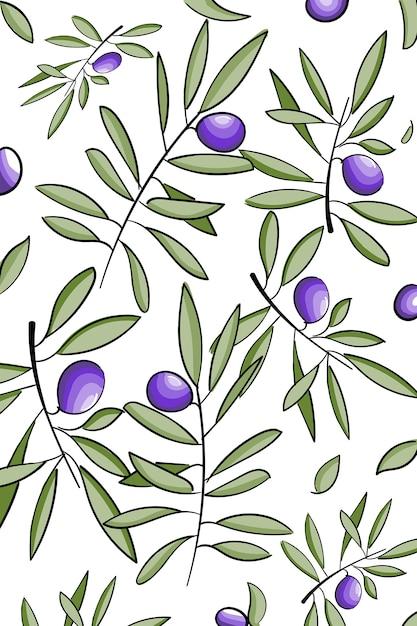 Modèle vector avec des brindilles d'olive dessinés à la main d'encre isolés sur blanc Vecteur Premium