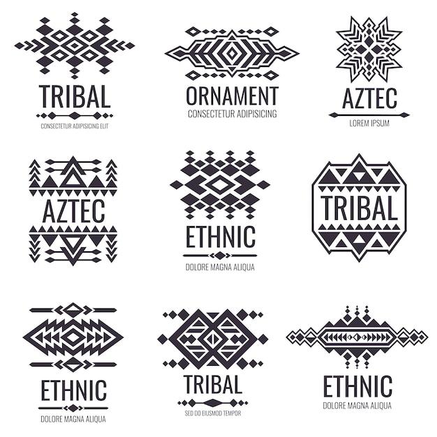 Modèle vectoriel aztèque tribal. graphiques indiens pour les dessins de tatouage Vecteur Premium
