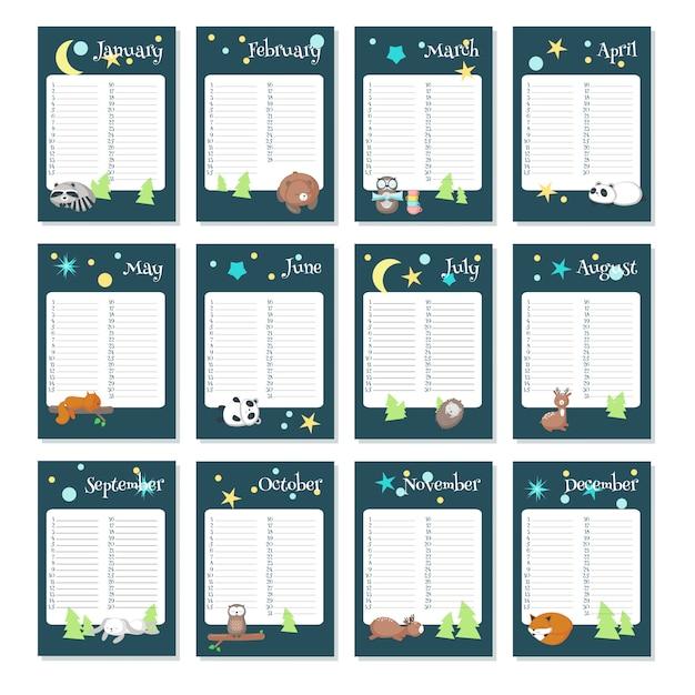 Modèle vectoriel de calendrier planificateur avec des animaux endormis Vecteur Premium