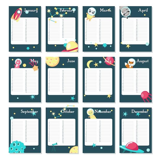 Modèle vectoriel de calendrier planificateur avec animaux de l'espace Vecteur Premium