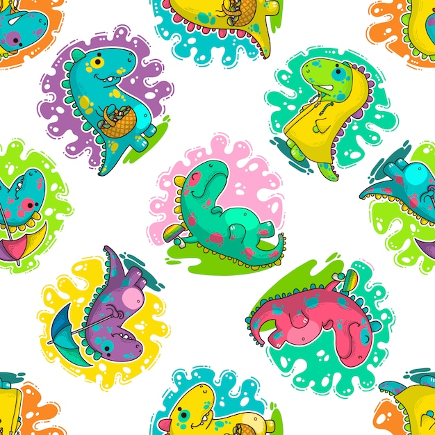 Modèle vectoriel cool dino doodle Vecteur Premium