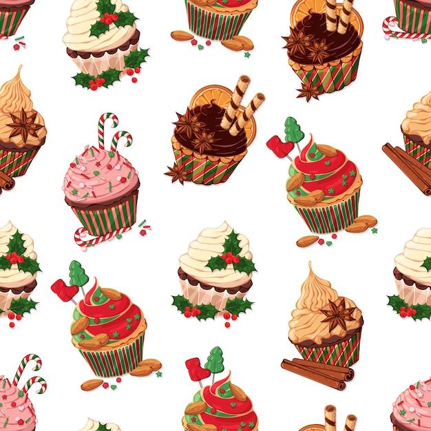 Modèle vectoriel de différentes sortes de cupcakes de noël. Vecteur Premium