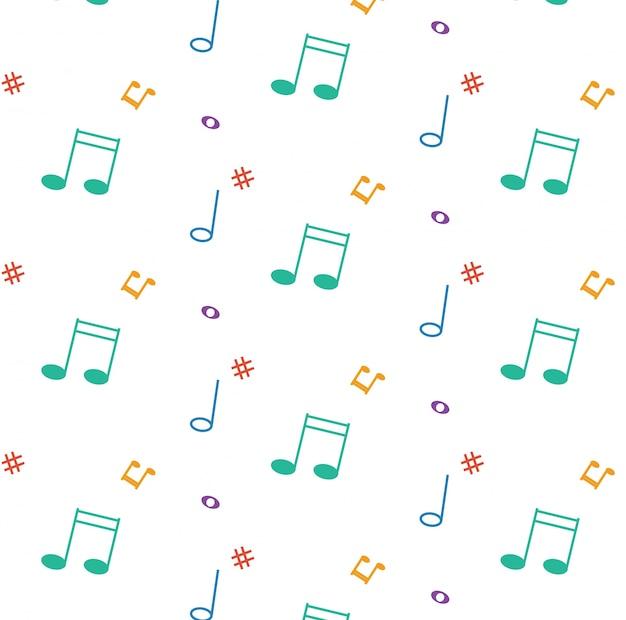 Modèle Vectoriel Avec Des Notes De Musique Vecteur Premium