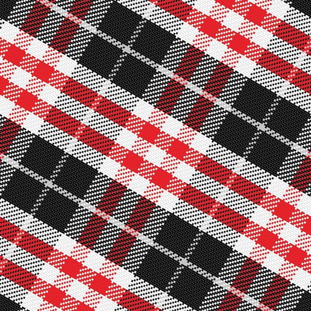 Modèle Vectoriel Tartan écossais 3, Noir, Blanc, Gris, Rouge Vecteur Premium