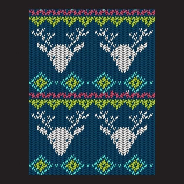 Modèle vectoriel de vacances tricot lumineux d'hiver sans soudure Vecteur gratuit