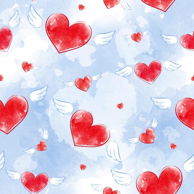 Modèle Vectorielle Continue Avec Coeurs De Texture Aquarelle Rouge Avec Des Ailes Et Fond Bleu. Vecteur Premium