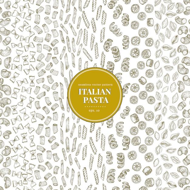 Modèle vectorielle continue avec différents types de pâtes italiennes traditionnelles. Vecteur Premium