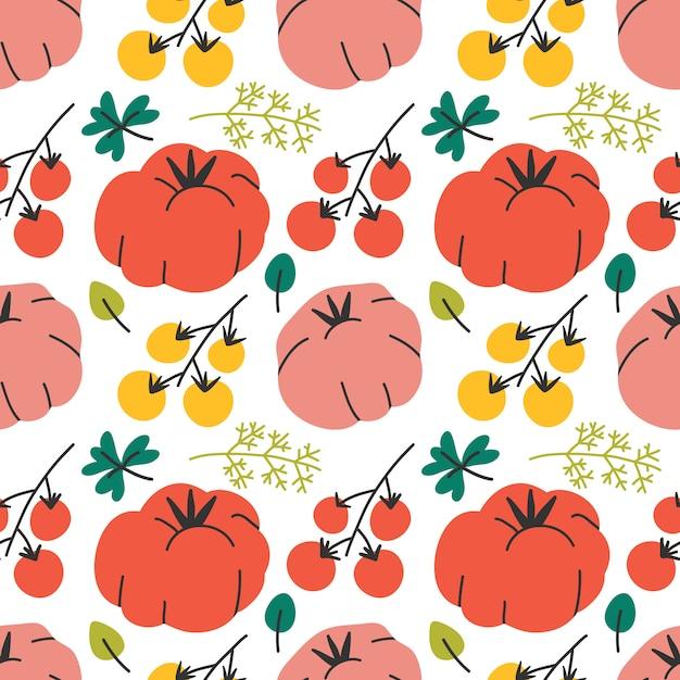 Modèle Vectorielle Continue Avec Des Tomates Vecteur Premium