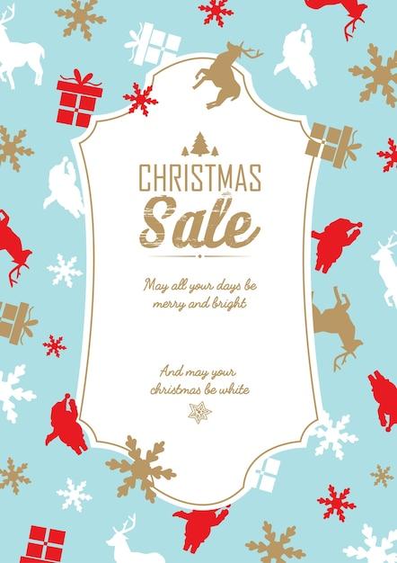 Modèle De Vente Et De Célébration De Noël Avec Texte Sur Les Remises Et Souhaits Sur Bleu Vecteur Premium