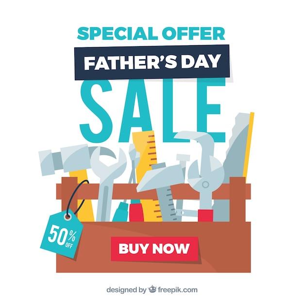 Modèle de vente fête des pères avec boîte à outils Vecteur gratuit