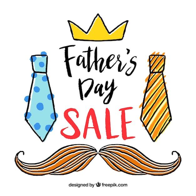 Modèle de vente fête des pères avec des éléments de vêtements Vecteur gratuit