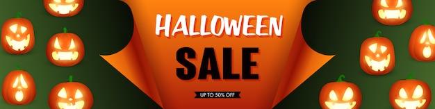 Modèle De Vente Halloween Avec Des Citrouilles Vecteur gratuit