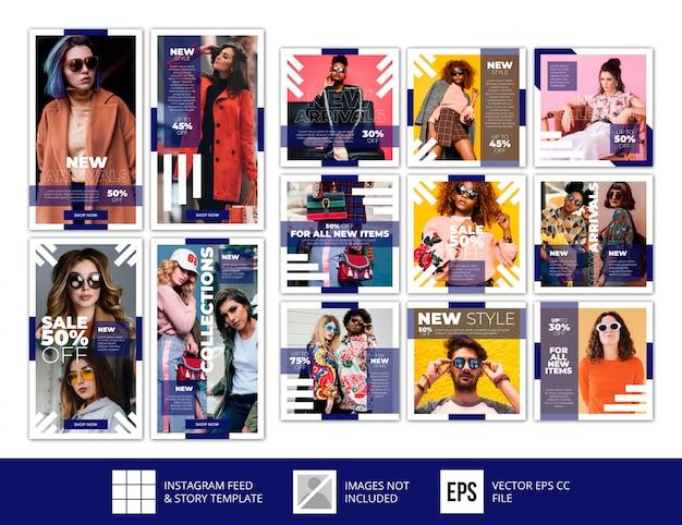 Modèle De Vente De Mode Post-mode Minimaliste D'histoires Instagram Bleu Vecteur Premium