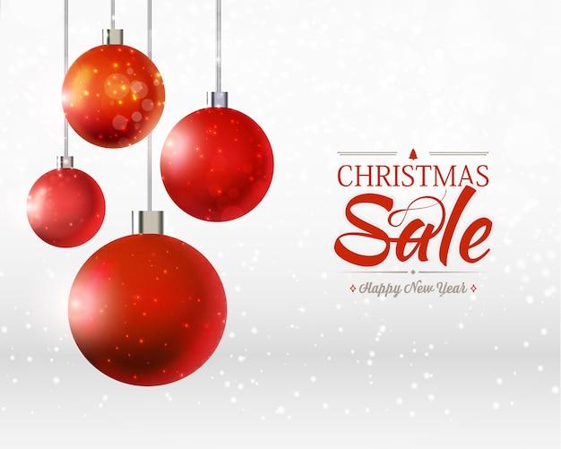 Modèle De Vente De Noël Et Bonne Année Avec Quatre Ornements De Boules, Rubans Sur Le Gris Et Le Blanc Vecteur gratuit