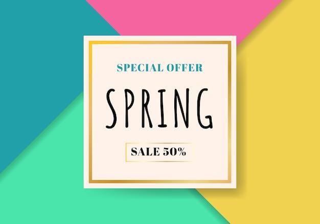 Modèle de vente de printemps beau fond coloré Vecteur Premium
