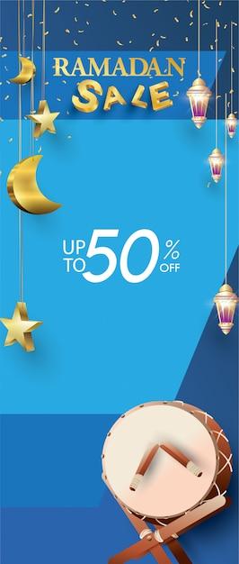 Modèle de vente de roll-up ramadan karim Vecteur Premium