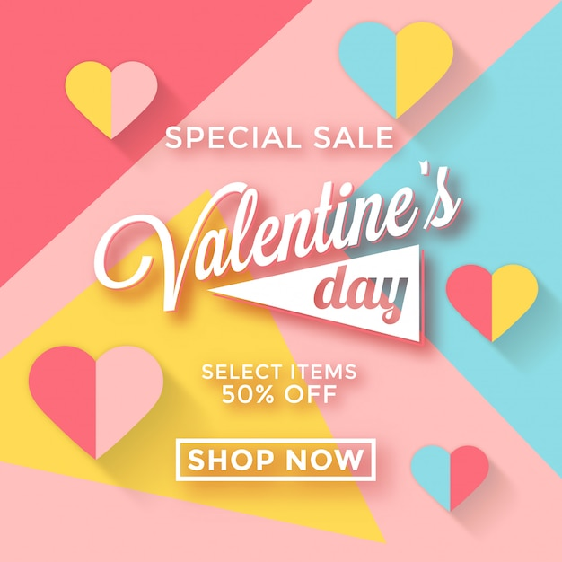 Modèle de vente de saint valentin avec des couleurs pastel Vecteur Premium