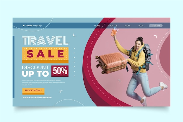 Modèle De Vente De Voyage De Page De Destination Vecteur gratuit