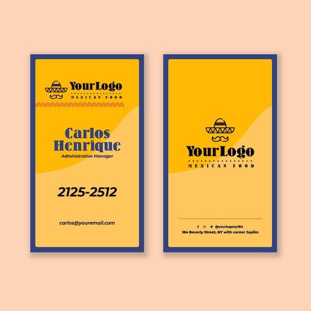 Modèle Vertical De Carte De Visite De Cuisine Mexicaine Vecteur Premium