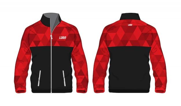 Modèle De Veste Polygone Sport Rouge Et Noir Pour La Conception Sur Fond Blanc. Illustration Vectorielle Eps 10. Vecteur Premium